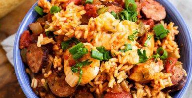 arroz con camarones y pollo